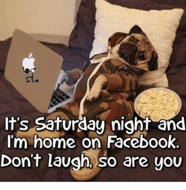 It' Saturday night and I'm home on Facebook.